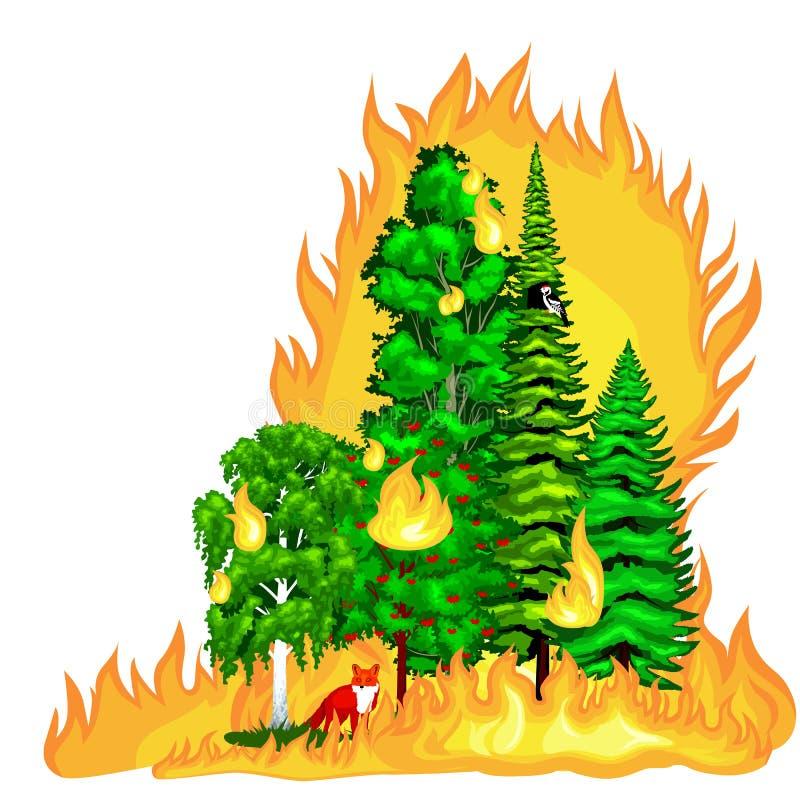 Δασική πυρκαγιά, πυρκαγιά στη δασική ζημία τοπίων, καταστροφή οικολογίας φύσης, καυτά καίγοντας δέντρα, φλόγα δασικής πυρκαγιάς κ διανυσματική απεικόνιση