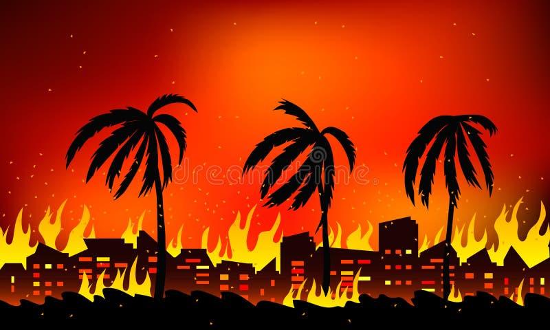 Δασική πυρκαγιά σε Καλιφόρνια, στις ΗΠΑ Τοπίο του καψίματος της φύσης και των σπιτιών Επίπεδη διανυσματική απεικόνιση διανυσματική απεικόνιση