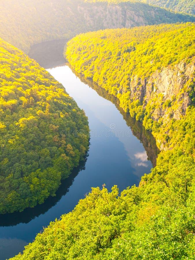Δασικός μαίανδρος ποταμών Vltava στη Δημοκρατία της Τσεχίας στοκ εικόνα με δικαίωμα ελεύθερης χρήσης
