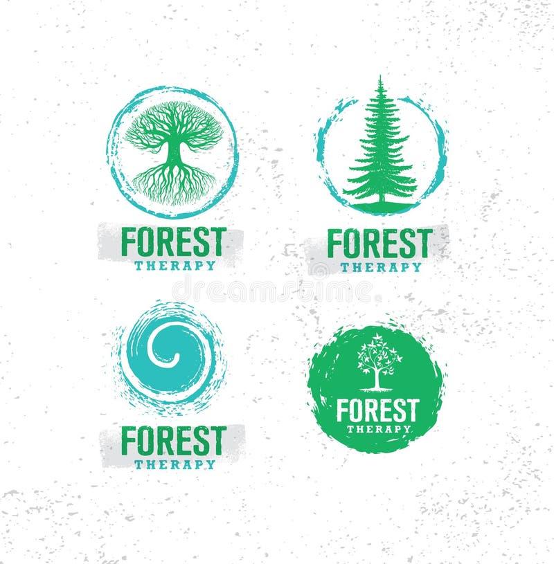 Δασικός οδηγός θεραπείας Φιλική έννοια απεικόνισης προγύμνασης φύσης Οργανικό διανυσματικό στοιχείο σχεδίου Eco ελεύθερη απεικόνιση δικαιώματος