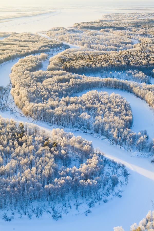 Δασικός ποταμός κατά τη διάρκεια της κρύας χειμερινής ημέρας, τοπ άποψη στοκ εικόνα