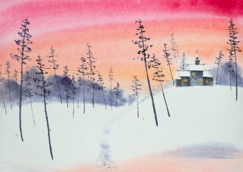 δασικός χειμώνας εκκλησιών ξύλινος ελεύθερη απεικόνιση δικαιώματος