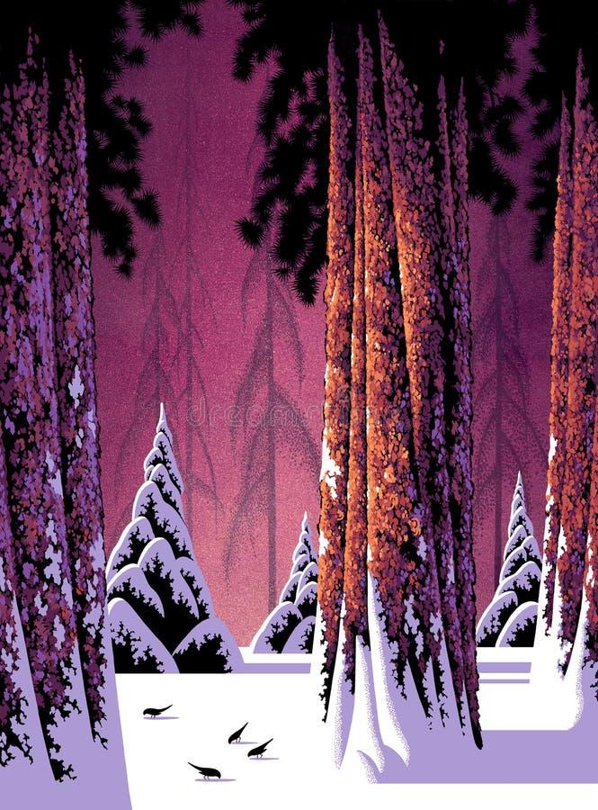 δασικός χειμώνας σκηνής διανυσματική απεικόνιση