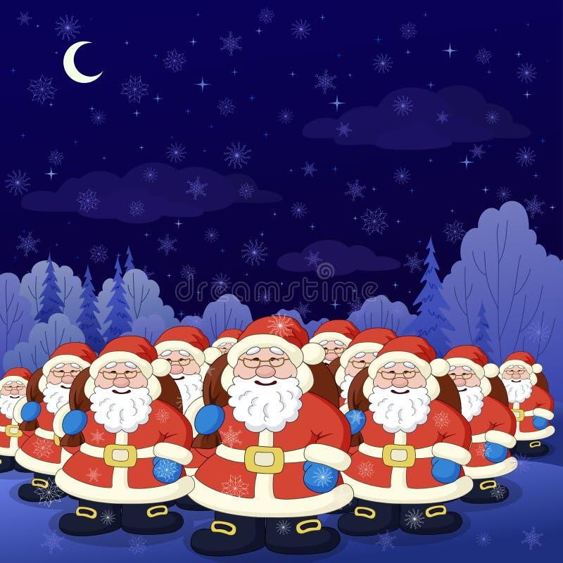 δασικός χειμώνας santa νύχτας Clau ελεύθερη απεικόνιση δικαιώματος