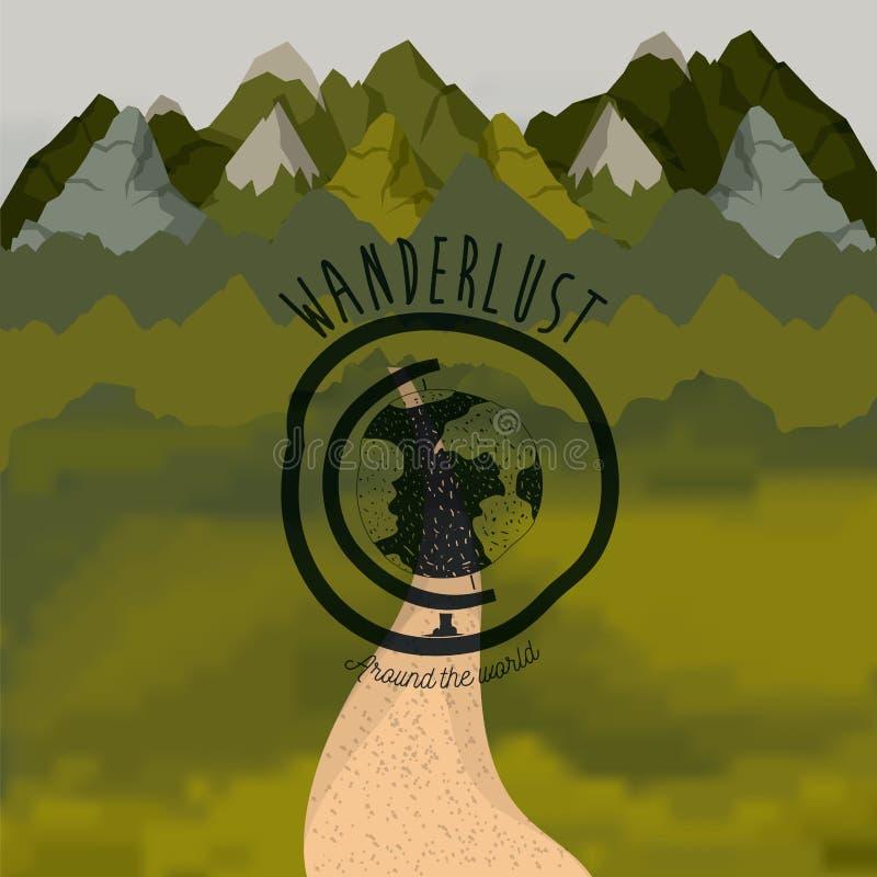Δασικός scenary υποβάθρου με τη σφαίρα δρόμων και wanderlust λογότυπων eart ελεύθερη απεικόνιση δικαιώματος