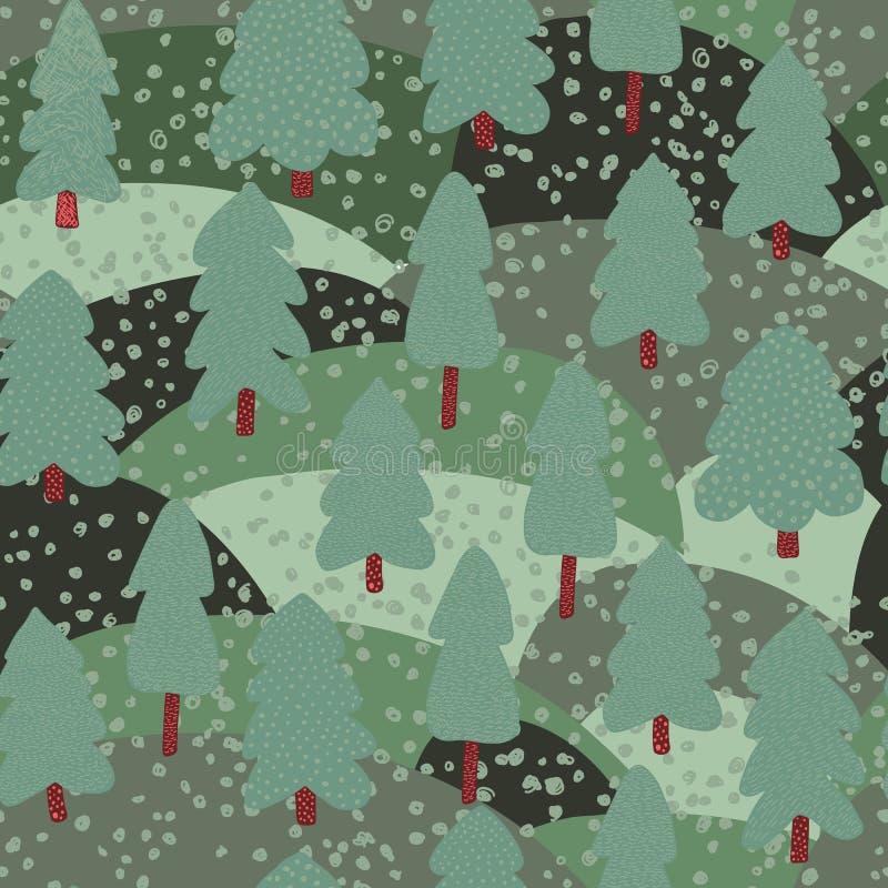 Δασικό άνευ ραφής σχέδιο lanscape Υπόβαθρο δέντρων πεύκων Doodle απεικόνιση αποθεμάτων