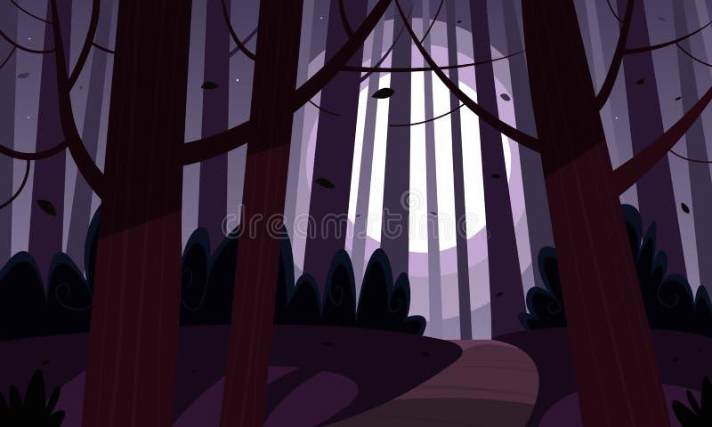 Δασικό ίχνος νύχτας διανυσματική απεικόνιση
