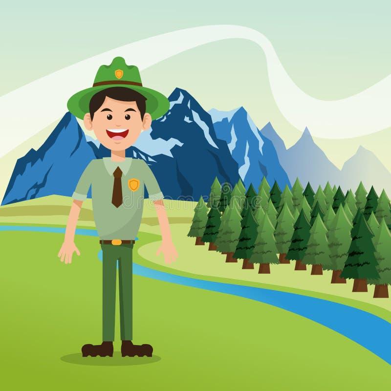 Δασικό δασοφύλακας με το τοπίο του σχεδίου δέντρων και βουνών πεύκων στοκ φωτογραφία με δικαίωμα ελεύθερης χρήσης