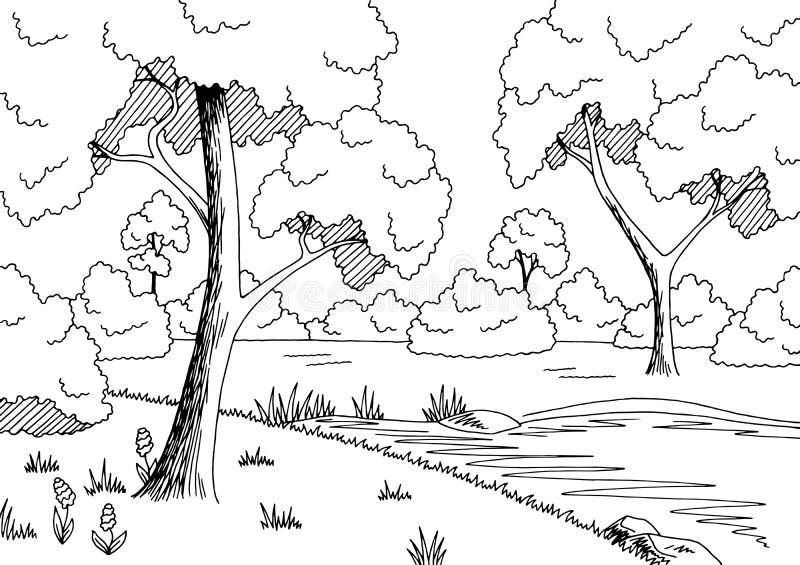 Δασικό διάνυσμα απεικόνισης σκίτσων τοπίων λιμνών γραφικό μαύρο άσπρο ελεύθερη απεικόνιση δικαιώματος
