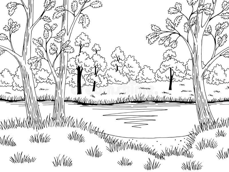 Δασικό διάνυσμα απεικόνισης σκίτσων τοπίων λιμνών γραφικό μαύρο άσπρο απεικόνιση αποθεμάτων