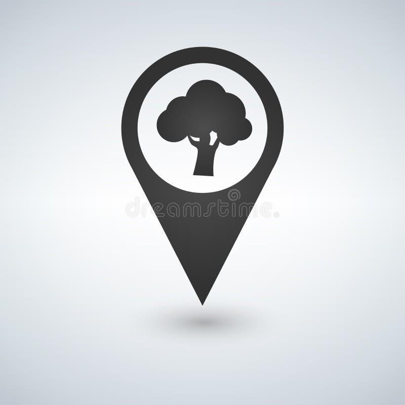 Δασικό εικονίδιο θέσης εσωτερικό δέντρων ακριβές Απομονωμένη διάνυσμα απεικόνιση απεικόνιση αποθεμάτων