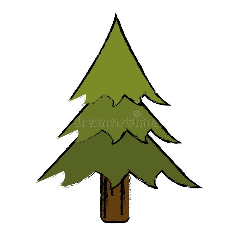 Δασικό εικονίδιο στρατοπέδευσης δέντρων πεύκων σχεδίων απεικόνιση αποθεμάτων