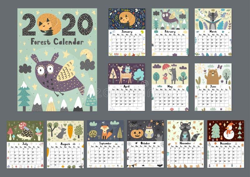 Δασικό ημερολόγιο για το έτος του 2020 Εκτυπώσιμος αρμόδιος για το σχεδιασμό 12 μηνών με τα χαριτωμένα ζώα απεικόνιση αποθεμάτων