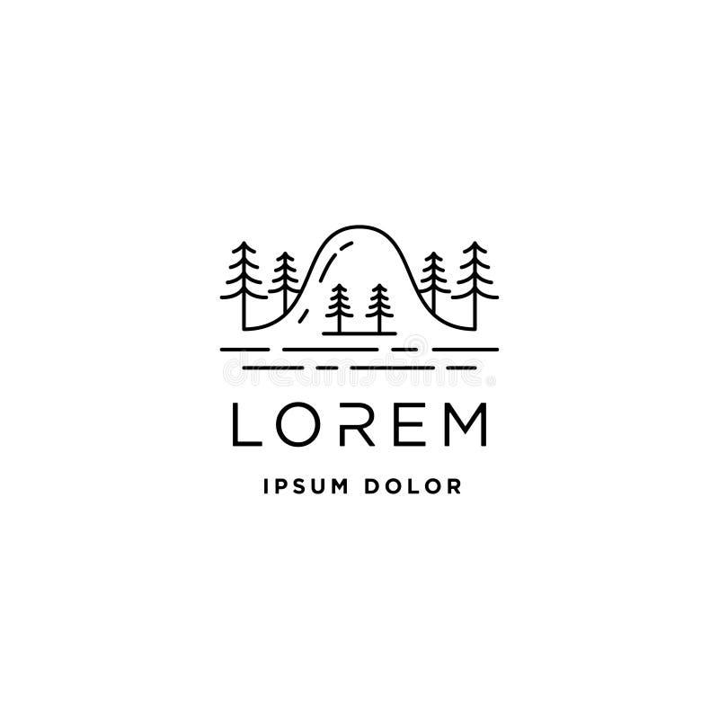 Δασικό σύμβολο τοπίων σχεδίου γραμμών λογότυπων διανυσματικό απεικόνιση αποθεμάτων