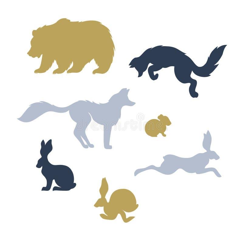 Δασικό σύνολο ζώων θηλαστικών: οι αλεπούδες, αντέχουν, κουνέλια, ποντίκι απεικόνιση αποθεμάτων