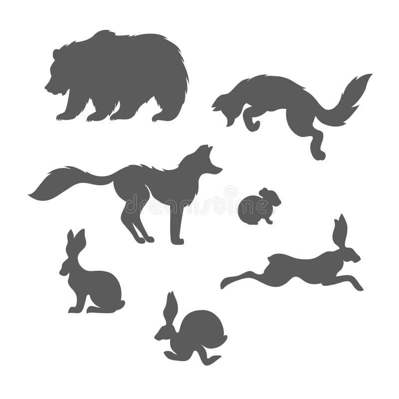 Δασικό σύνολο ζώων θηλαστικών: οι αλεπούδες, αντέχουν, κουνέλια, ποντίκι στοκ εικόνες