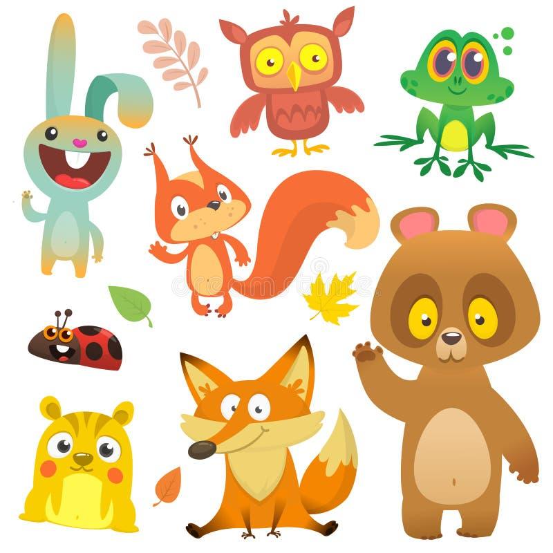 Δασικό σύνολο χαρακτήρων ζώων κινούμενων σχεδίων επίσης corel σύρετε το διάνυσμα απεικόνισης διανυσματική απεικόνιση