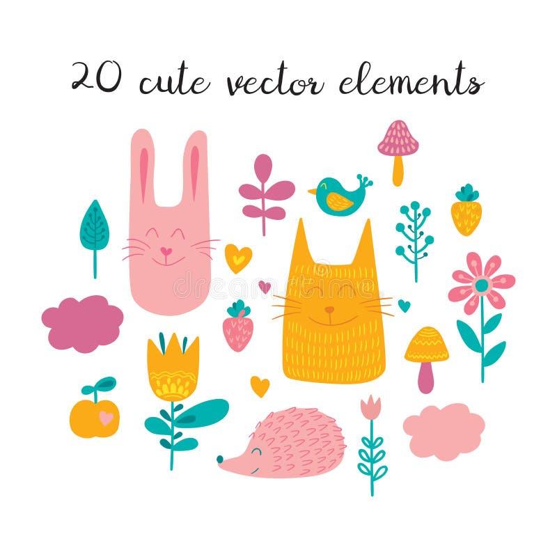 Δασικό σύνολο απεικόνισης φίλων Συλλογή των αστείων ζώων, των πουλιών, των λουλουδιών, των φυτών και των φρούτων στο παιδαριώδες  διανυσματική απεικόνιση