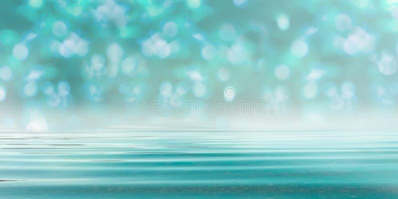 Δασικό τυρκουάζ μπλε υπόβαθρο Bokeh με το νερό στοκ εικόνες