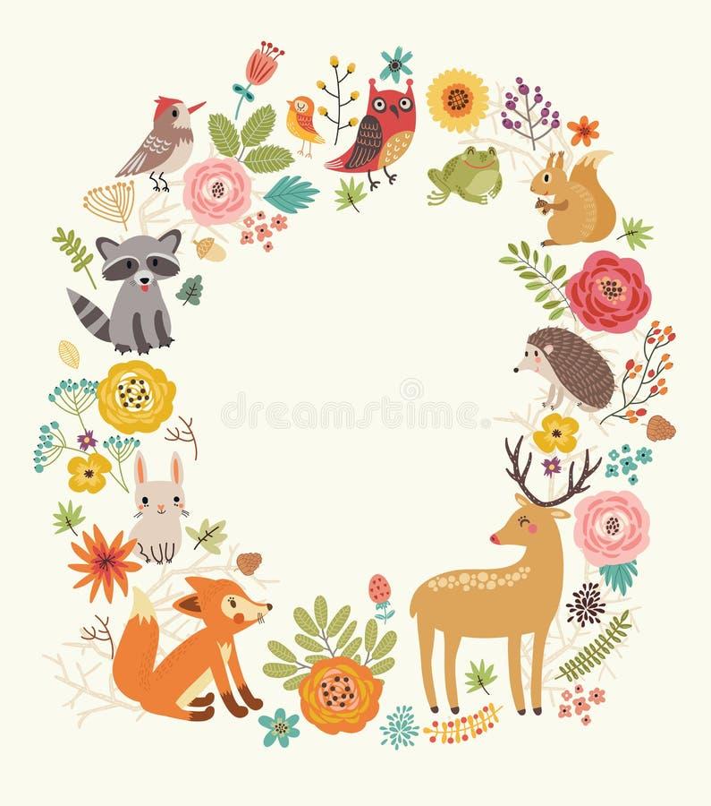 Δασικό υπόβαθρο με τα ζώα ελεύθερη απεικόνιση δικαιώματος