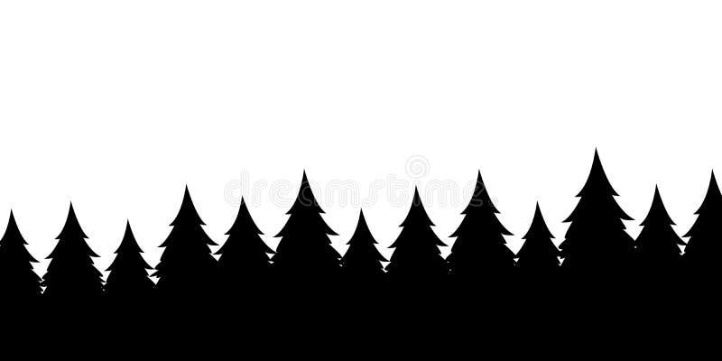 Δασικό υπόβαθρο σκιαγραφιών Άποψη στα ρεαλιστικά κωνοφόρα δέντρα Διανυσματική μονοχρωματική έκδοση απεικόνιση αποθεμάτων