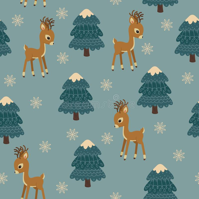 """Δασόβιος χειμώνας ζώων άνευ ραφής διάνυσμα προτύπ&omeg Παιδιά """" απεικόνιση αποθεμάτων"""