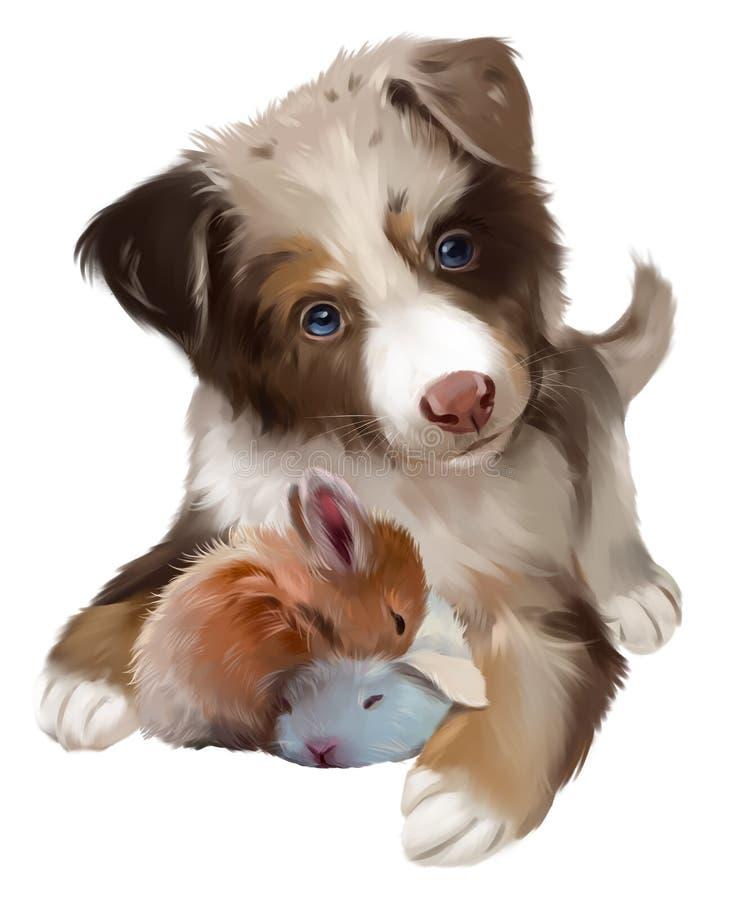 Δασύτριχο σκυλί και δύο κουνέλια που κοιμούνται υψηλό watercolor ποιοτικής ανίχνευσης ζωγραφικής διορθώσεων πλίθας photoshop πολύ διανυσματική απεικόνιση