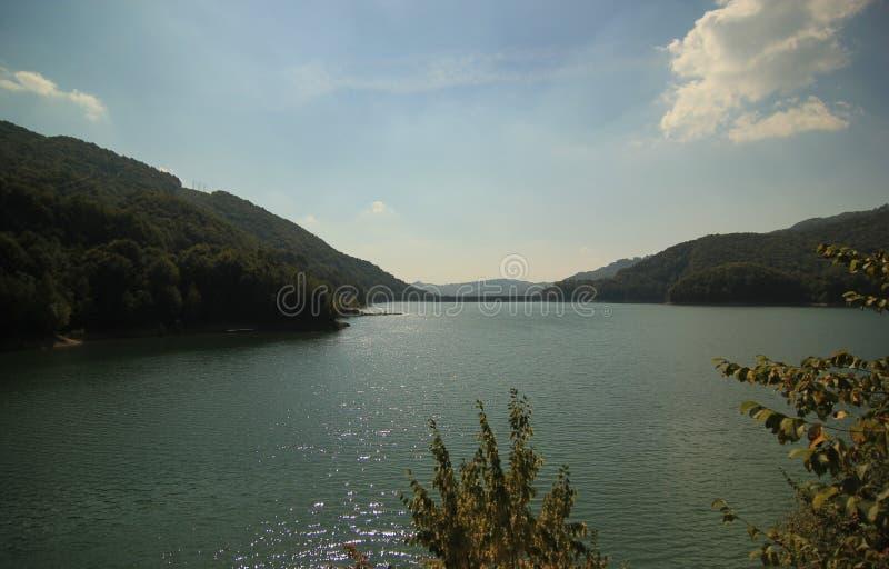Δασώδες τοπίο βουνών και ποταμών στοκ φωτογραφίες
