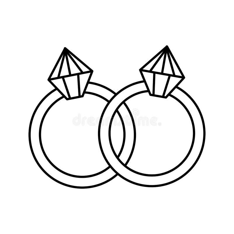 Δαχτυλίδια με τα εικονίδια διαμαντιών ελεύθερη απεικόνιση δικαιώματος