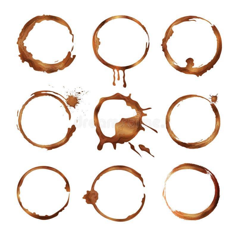 Δαχτυλίδια φλυτζανιών καφέ Βρώμικοι παφλασμοί και πτώσεις των διανυσματικών μορφών κύκλων τσαγιού ή καφέ ελεύθερη απεικόνιση δικαιώματος
