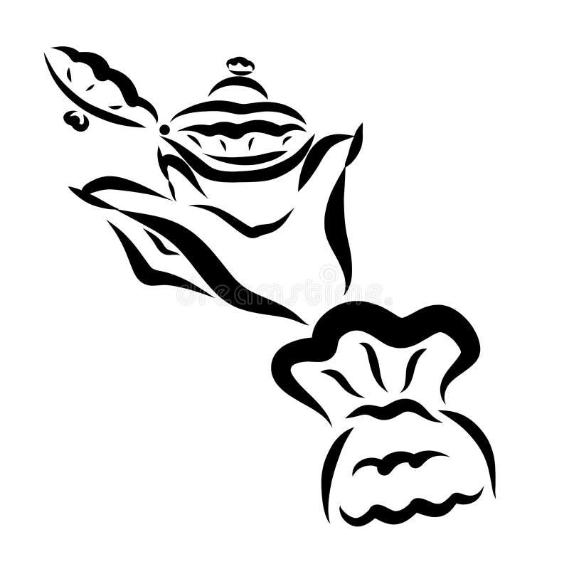 Δαχτυλίδι με έναν πολύτιμο λίθο σε μια κομψή κασετίνα στο χέρι του α διανυσματική απεικόνιση