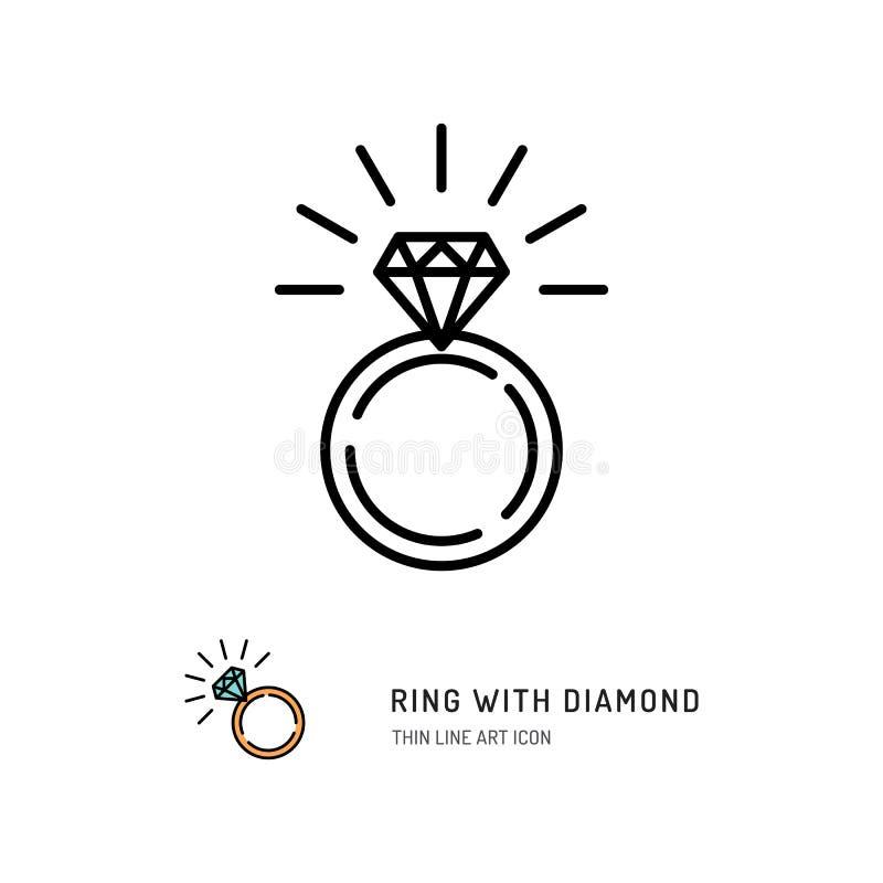 Δαχτυλίδι με το εικονίδιο διαμαντιών, τη δέσμευση και το γαμήλιο δαχτυλίδι Σχέδιο τέχνης γραμμών, διανυσματική απεικόνιση ελεύθερη απεικόνιση δικαιώματος