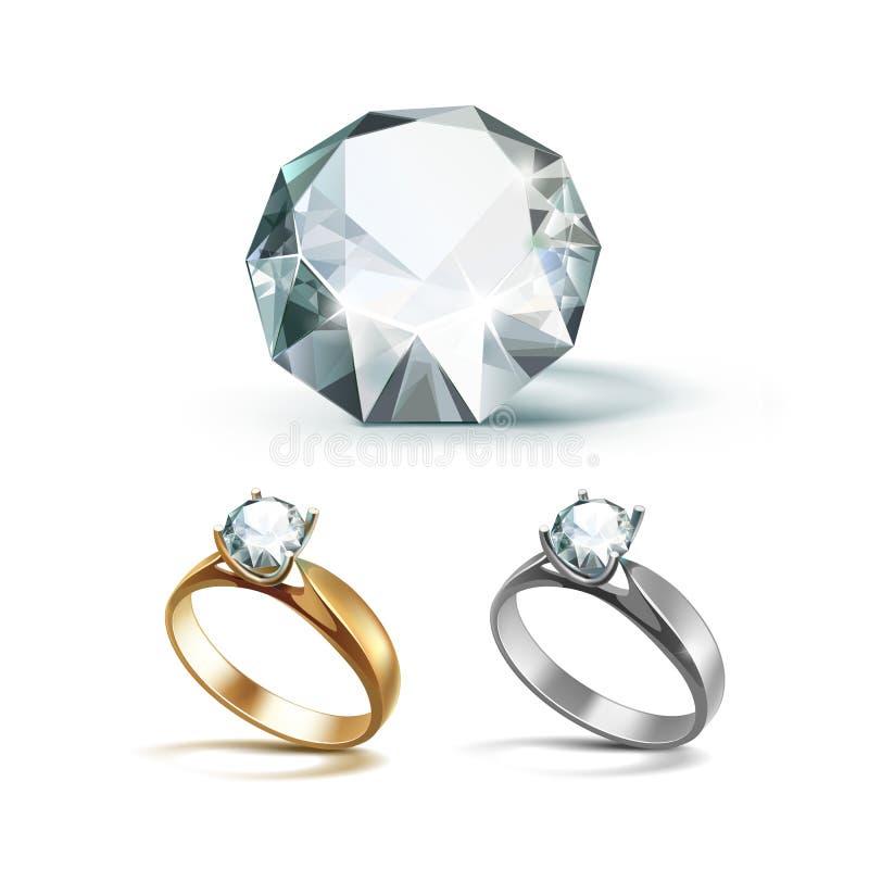 Δαχτυλίδια αρραβώνων χρυσού και Siver με το άσπρο λαμπρό σαφές διαμάντι ελεύθερη απεικόνιση δικαιώματος