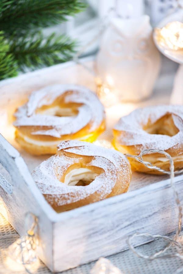 Δαχτυλίδια & x28 ριπών κρέμας choux pastry& x29  στοκ εικόνες με δικαίωμα ελεύθερης χρήσης
