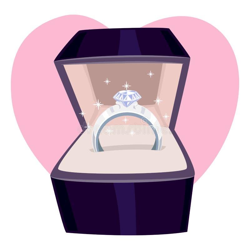 Δαχτυλίδι διαμαντιών σε ένα κιβώτιο διανυσματική απεικόνιση