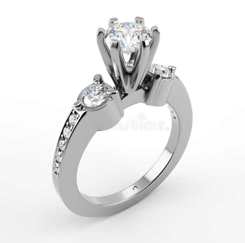 Δαχτυλίδι διαμαντιών στην άσπρη ανασκόπηση στοκ φωτογραφίες