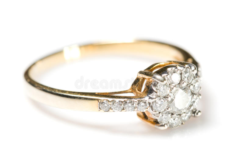 Δαχτυλίδι διαμαντιών στο άσπρο υπόβαθρο στοκ εικόνες