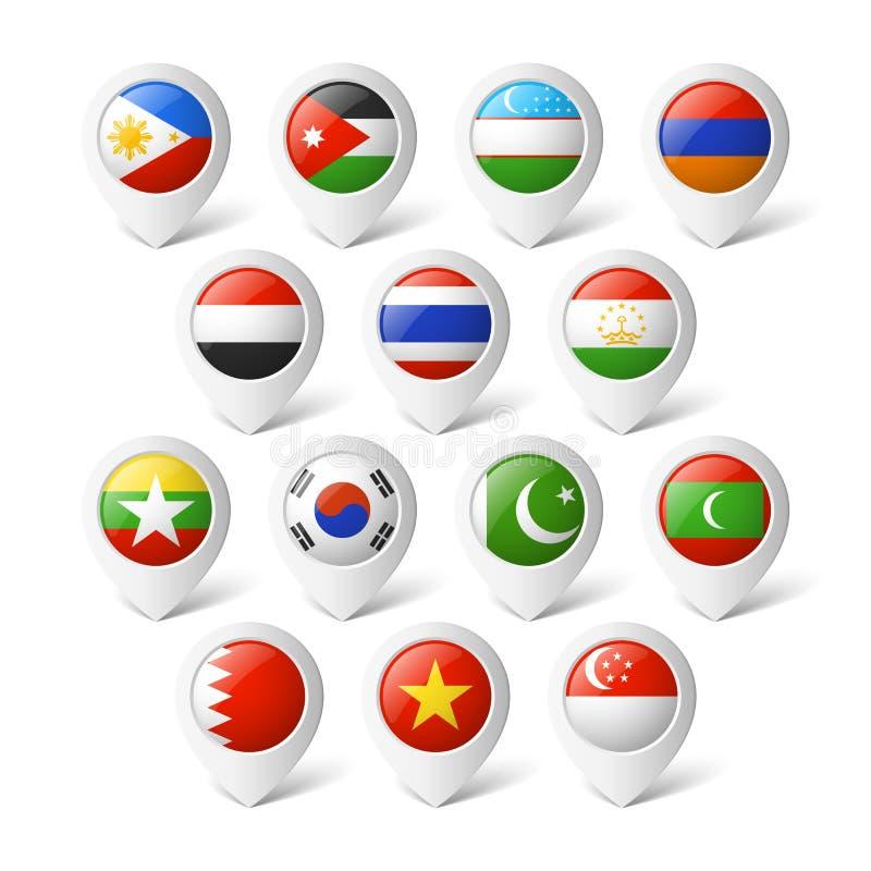 Δείκτες χαρτών με τις σημαίες. Ασία. ελεύθερη απεικόνιση δικαιώματος