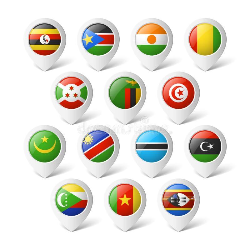 Δείκτες χαρτών με τις σημαίες. Αφρική. διανυσματική απεικόνιση
