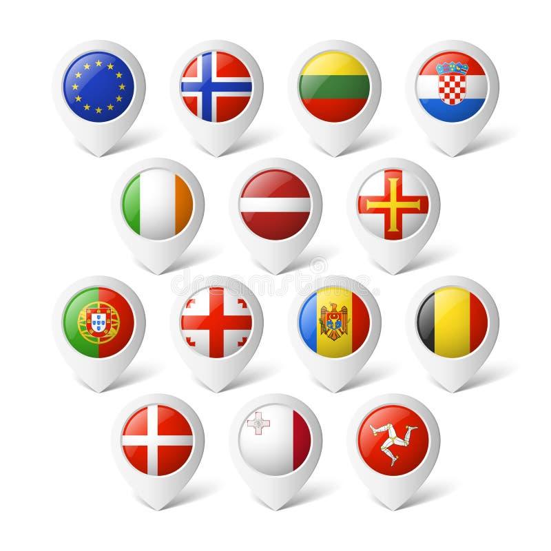 Δείκτες χαρτών με τις σημαίες. Ευρώπη. απεικόνιση αποθεμάτων