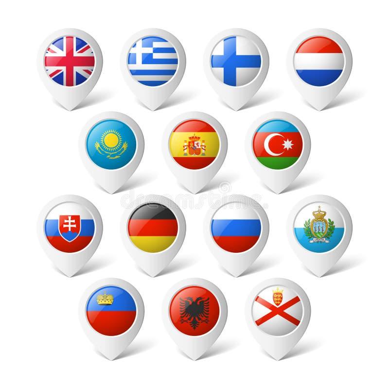 Δείκτες χαρτών με τις σημαίες. Ευρώπη. διανυσματική απεικόνιση