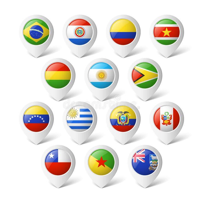 Δείκτες χαρτών με τις σημαίες. Νότια Αμερική. ελεύθερη απεικόνιση δικαιώματος