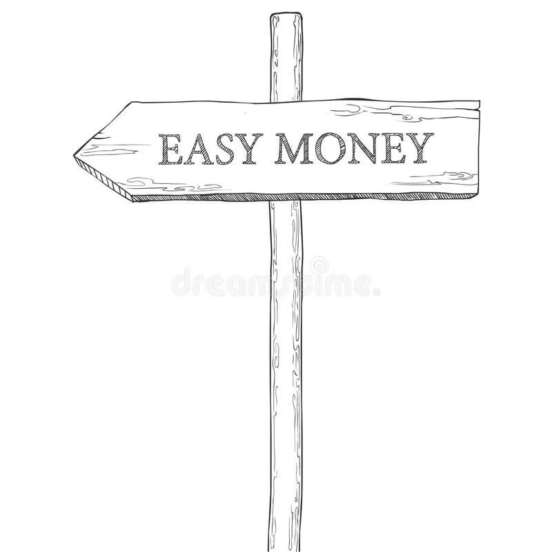 Δείκτης με τα εύκολα χρήματα λέξης ελεύθερη απεικόνιση δικαιώματος