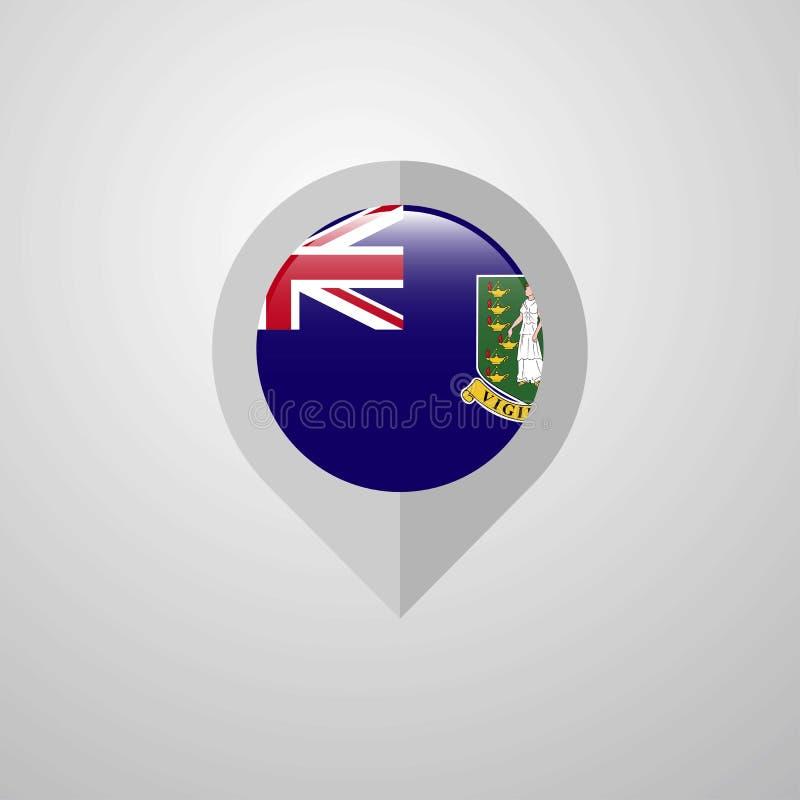 Δείκτης ναυσιπλοΐας χαρτών με το διάνυσμα σχεδίου βρετανικών σημαιών Παρθένων Νήσων διανυσματική απεικόνιση