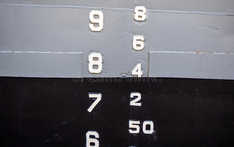 Δείκτης σταθμών ύδατος σκαφών στοκ φωτογραφίες με δικαίωμα ελεύθερης χρήσης