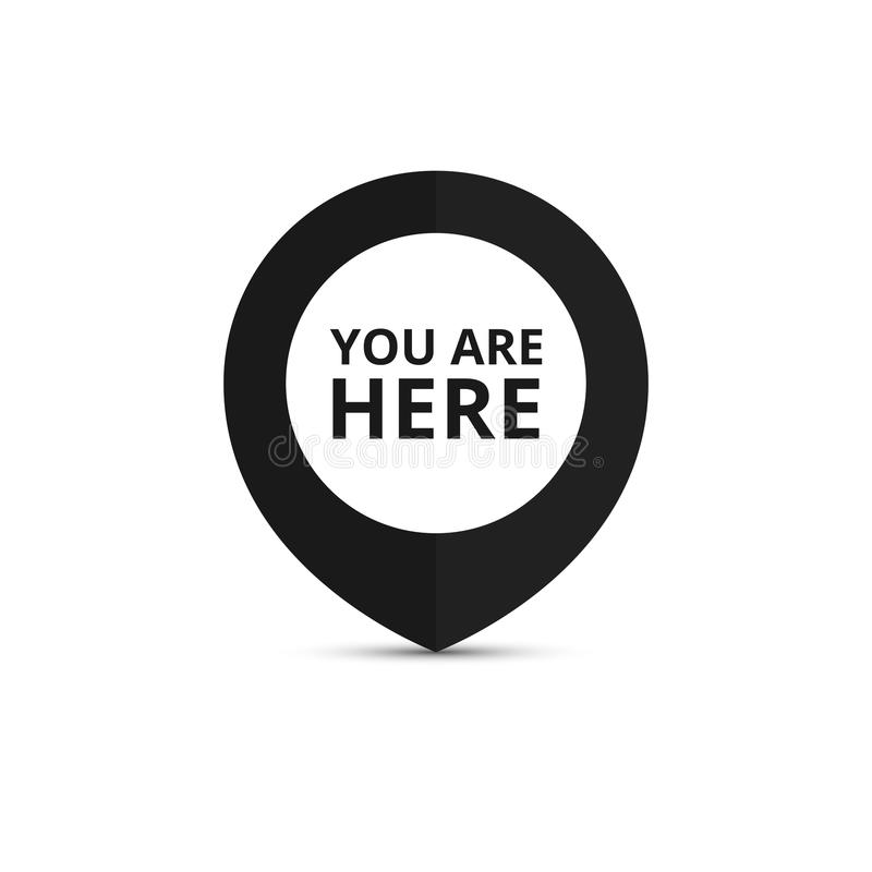 Δείκτης χαρτών με το σημάδι θέσης σας Είστε εδώ σημάδι Διάνυσμα ι ελεύθερη απεικόνιση δικαιώματος