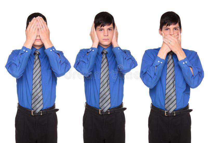 Δείτε ότι να ακούσει μην μιλήστε κανένα κακό - επιχειρηματίας στοκ εικόνα με δικαίωμα ελεύθερης χρήσης