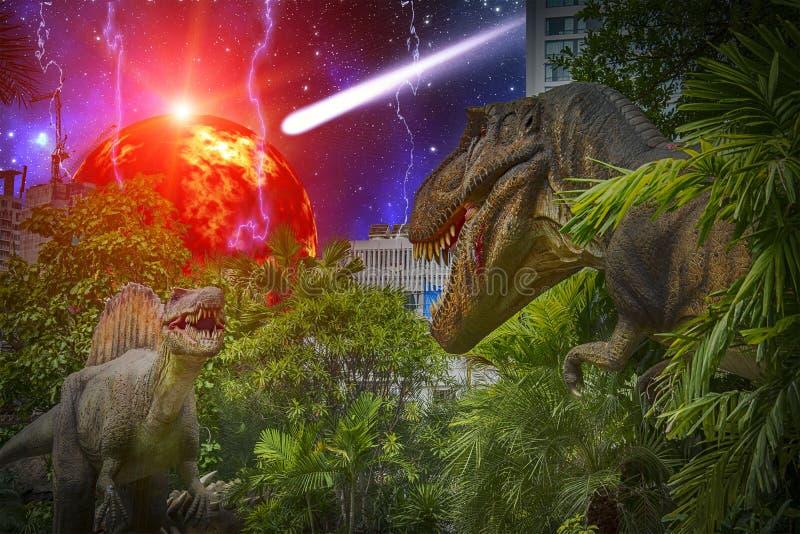 Δεινόσαυροι που παλεύουν κατά τη διάρκεια του τέλους της γης στοκ εικόνα με δικαίωμα ελεύθερης χρήσης