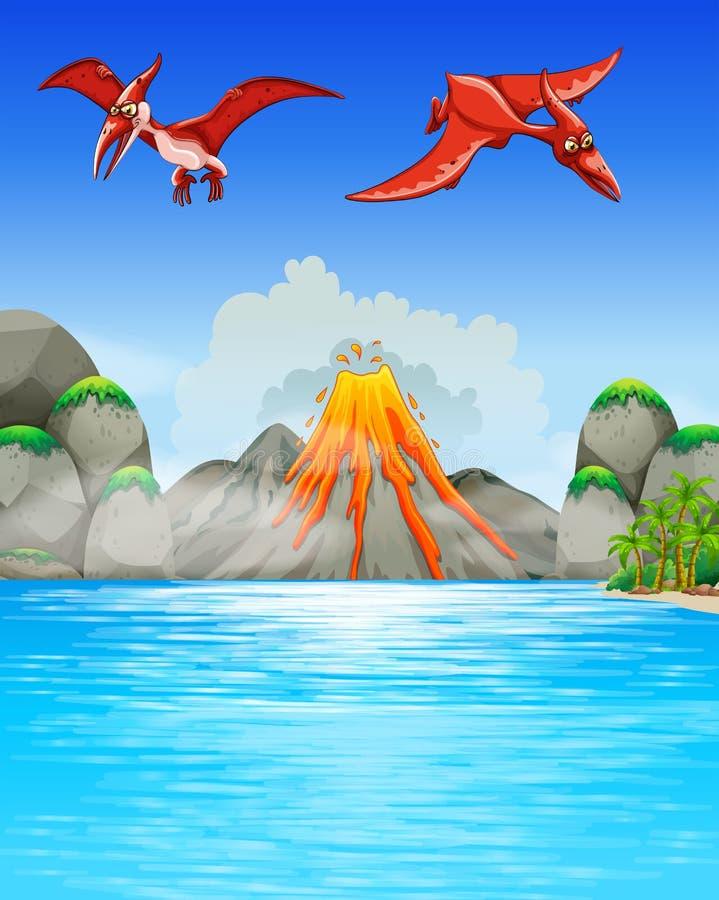 Δεινόσαυροι που πετούν πέρα από το ηφαίστειο ελεύθερη απεικόνιση δικαιώματος