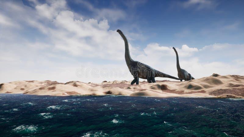 Δεινόσαυροι στην προϊστορική περίοδο στο τοπίο άμμου τρισδιάστατη απόδοση ελεύθερη απεικόνιση δικαιώματος